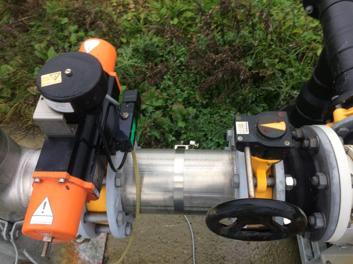 Enkeltvirkende butterflyventil med tilbagemelder og reguleringsventil til biogasfakkel